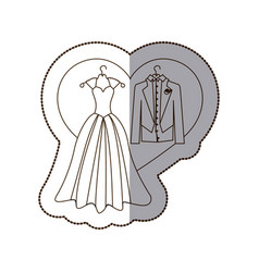 elegant jacket and dress married with heart vector image