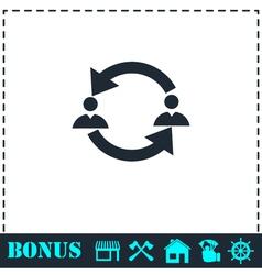 Exchange between two men icon flat vector image vector image