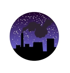 Factory pipe with smoke at night vector