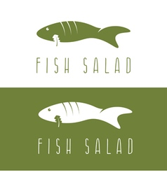 Fish salad negative space design template vector