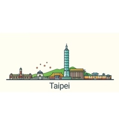 Flat line taipei banner vector