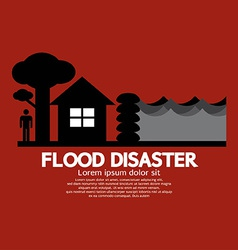 Flood disaster with sandbag barrier vector