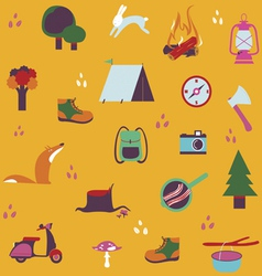 Forest camping seamless design vector