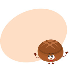 Funny smiling round whole wheat dark brown bread vector
