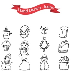 Hand drawn of christmas icons set vector
