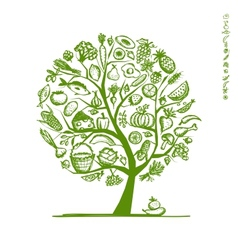 Healthy food tree sketch for your design vector image vector image
