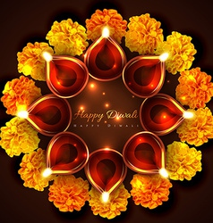 Hindu festival background of diwali vector image vector image