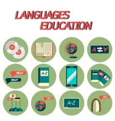 Languages education flat icon set vector image vector image