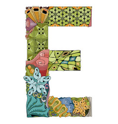 Letter e zentangle decorative object vector