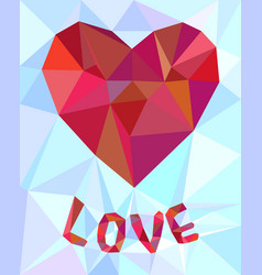 low poly heart background vector image