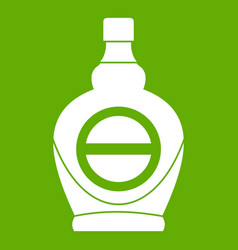 Maple syrup in glass bottle icon green vector