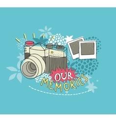 Old photo camera print vector