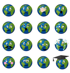 Planet earth emoticons set vector