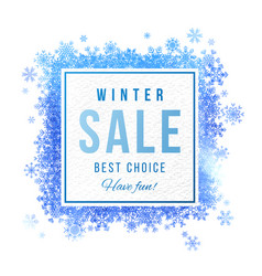 sale square banner with blue watercolor snowflakes vector image vector image