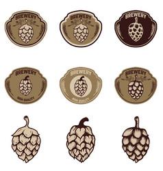 set of brewery emblems beer hope design elements vector image