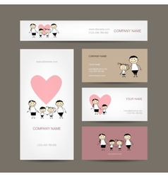 Set of business cards design with family vector