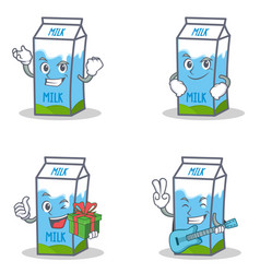 Set of milk box character with successful smirking vector