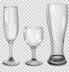 Set of transparent glass goblets vector image vector image