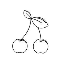 Silhouette cherry fruit icon stock vector