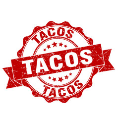 tacos stamp sign seal vector image