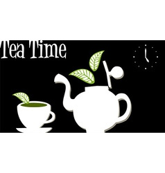 Tea time teapot and cup of tea vector