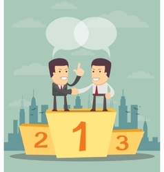 Teamwork - Business people on the first place vector image