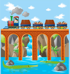 Train loaded with rocks and woods over the bridge vector