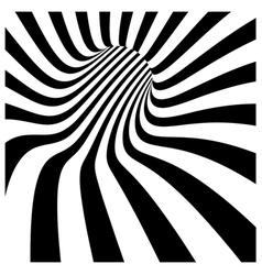 Tunnel vortex in concentric black and white stripe vector