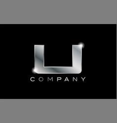 U silver metal letter company design logo vector