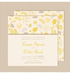 Wedding invitation card yellow vector