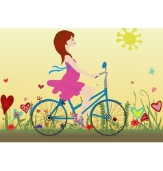 Pregnant girl rides a bicycle on a blossoming vector