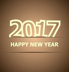 2017 happy new year on brown background vector