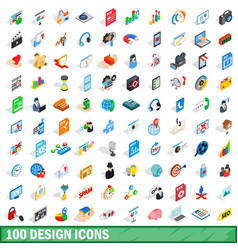 100 design icons set isometric 3d style vector image