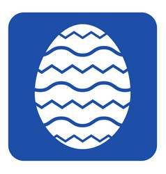 blue white sign - easter egg with waves icon vector image