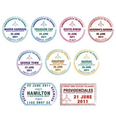 Lucayan islands passport stamps vector