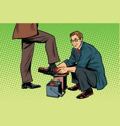 Businessman shoe shiner vector