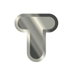 letter t steel font metal alphabet sign iron abc vector image