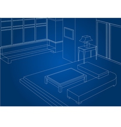 Wireframe living room scene vector