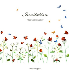 Cute floral border with butterflies watercolor vector