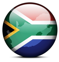 Map on flag button of republic south africa vector