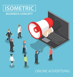 Isometric businessman hand with loudspeaker sticki vector