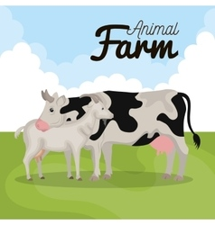 Animals farm in the field vector