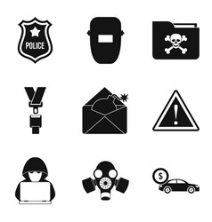 Atrocity icons set simple style vector