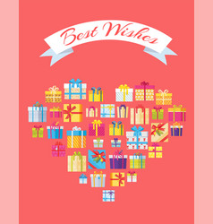 best wishes banner in heart shape gift box present vector image vector image