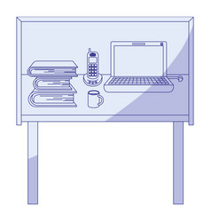 Blue shading silhouette of desk home office basic vector