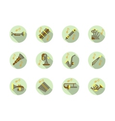 Brass and woodwind tunes round flat icons vector image vector image