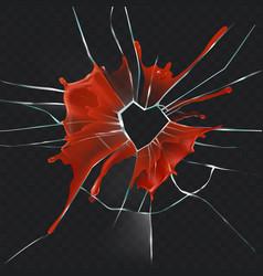 Broken glass heart bloody realistic concept vector