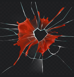 broken glass heart bloody realistic concept vector image