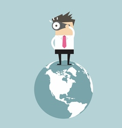Businessman find the opportunity on the world vector image