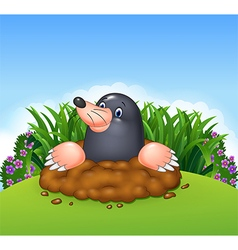 Cartoon funny mole in the jungle vector image vector image